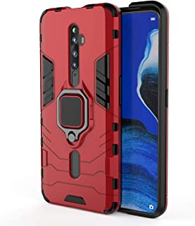 Case For Oppo Reno 2F / 2Z, Rugged And Shockproof,With Mobile Phone Ring Bracket Cover (red)