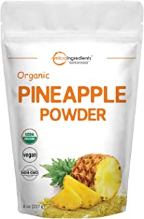Micro Ingredients Organic Pineapple Powder, 8 Ounce, Rich in Immune Vitamin C for Immune System Booster and Great Flavor f...
