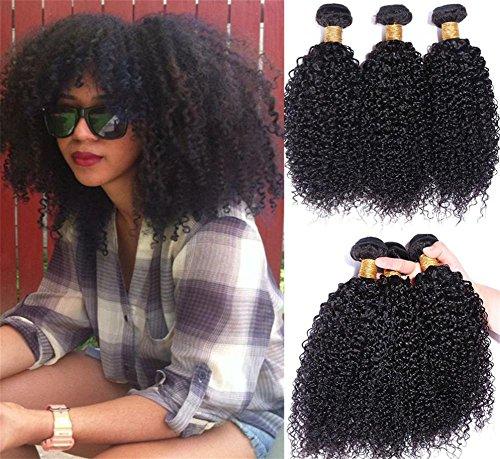 XYLUCKY Paquet de 3 paquets AFRO KINKY CURL Extension de tissus de cheveux brésiliens bruns Cheveux Cheveux 100% Cheveux humains Naturel Couleur noire , 12 14 16