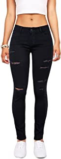 Women's Hight Waisted Butt Lift Stretch Ripped Skinny Jeans Distressed Denim Pants (US 12, Black 16)