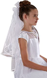 Sacred Traditions White First Communion Veil for Girls with Sheer Bow and Flowers, 26 Inch