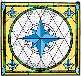 Stained Glass Panel - Nautical Compass Rose Stained Glass Window Hangings - Window Treatments