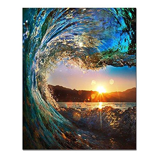RIHE zestaw do malowania według numerów zrób to sam obraz olejny - zachód słońca pejzaż morski 40 x 50 cm z pędzlami i farbami akrylowymi (bez ramy)