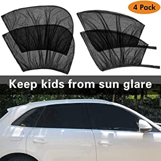 Tinpec Car Window Sun Shade (4 Packs), Universal Car Side Sunshades Mesh Shield, Protect Baby Kids Pets from Sun's Glare and UV Rays,- 2 Pack for Front Window and 2 Pack for Back Window
