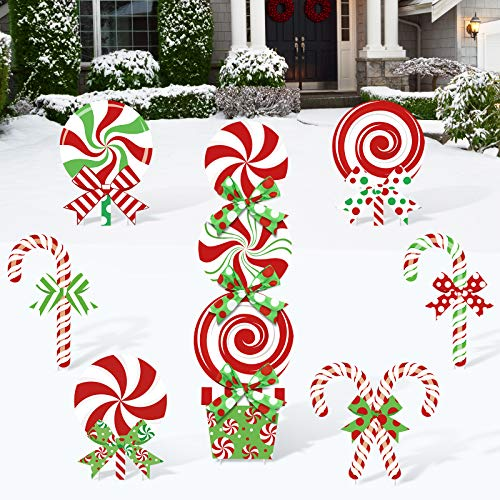Huray Rayho 10 Pack Christmas Candy Cane Yard Signs Lollipop Front Back Garden Patio Lawn Topper Winter Holiday Peppermint Green White Red Bows Indoor/Outdoor Decorations