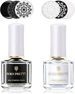 BORN PRETTY Nail Art Stamping Polish Pure White Black manicuring Image Print Polish Varnish 6ML 2 Bottles