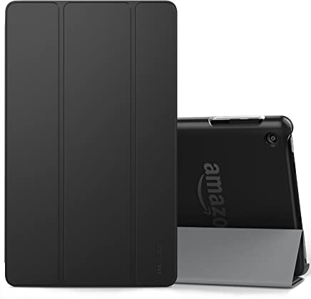 MoKo Case for All-New Amazon Fire HD 8 Tablet (7th/8th Generation, 2017/2018 Release) -Lightweight Slim Shell Stand Cover with Frosted Back for Fire HD 8, Black (with Auto Wake/Sleep)