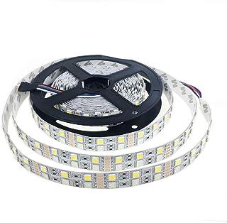 Alarmpore (TM) 16.4FT Double Row 5050 RGBWW RGB Warm White LED Strip 5M 600Leds SMD Flexible Light 120Leds/M 12V DC Non-wa...