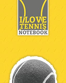 "I Love Tennis Notebook: Lined Notebook (8"" x 10"") 100 Pages Best Racket Sport Journal for Tennis Sport Lovers"