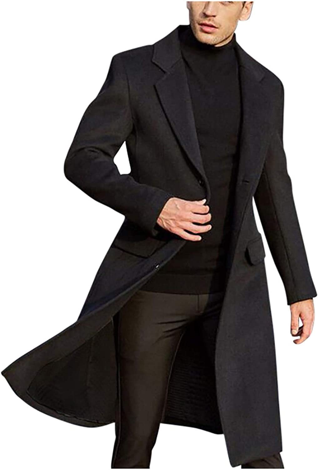 Men's Wool Blend Trench Coat Single Breasted Slim Fit Mid-Length Notched Collar Winter Overcoat Quilted Pea Coats
