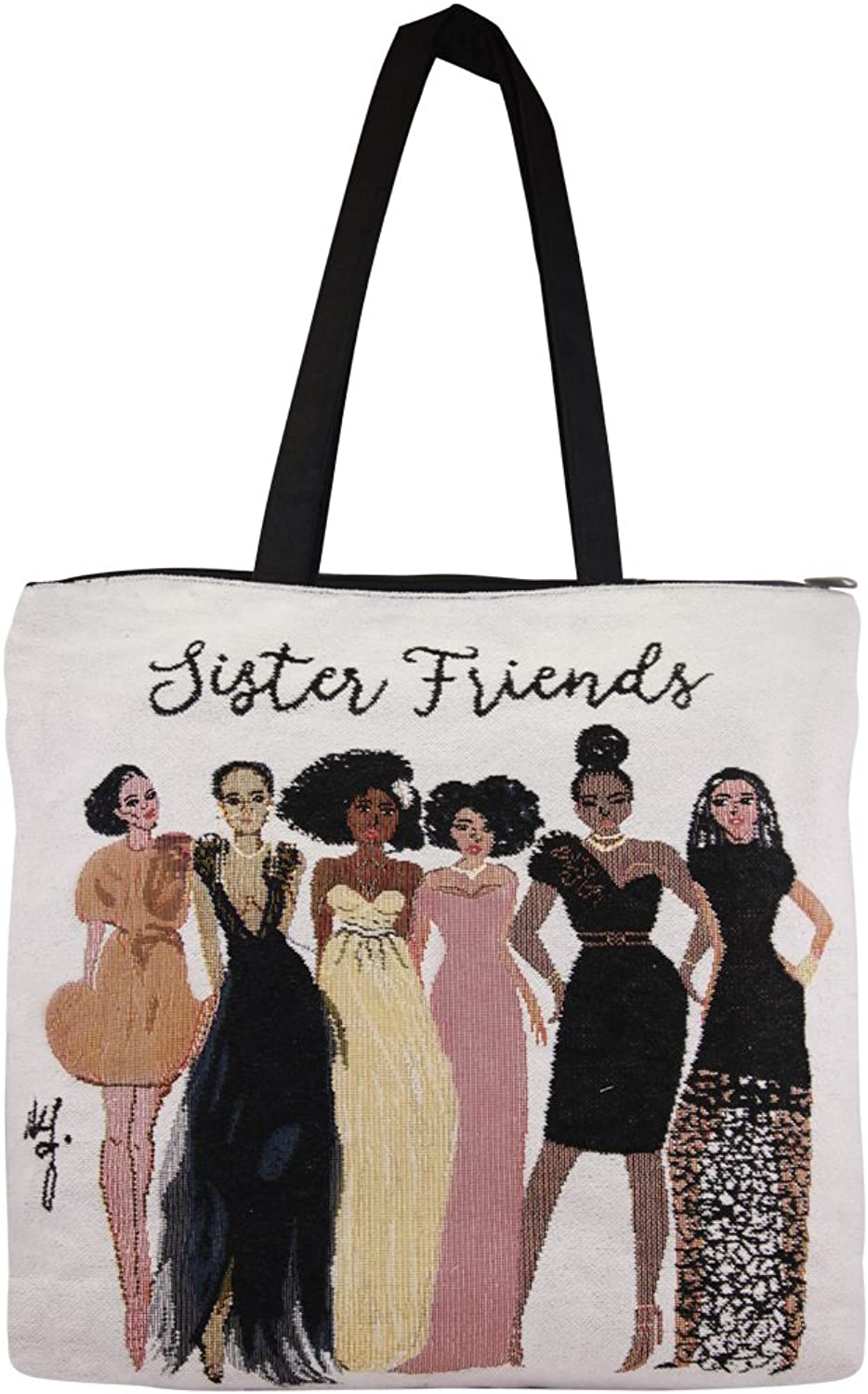 African American Expressions  Sister Friends Woven Tote Bag (Cotton Blend, 17  x 17 ) WTB13