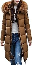 FarJing Women's Coats Women's Fashion Outerwear Long Cotton-Padded Jackets Zip Faux Fur Hooded Coats with Pocket