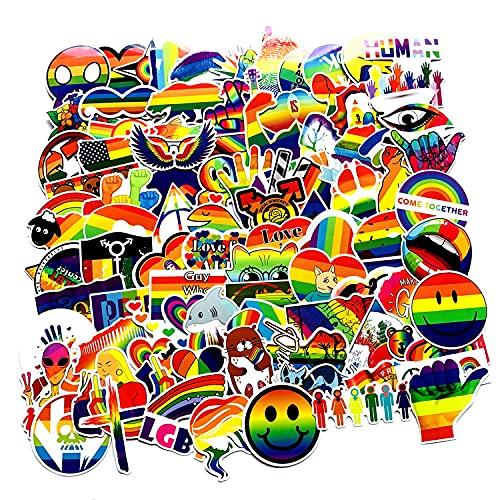 LSPLSP Pegatinas de graffiti de 7 colores con diseño de arco iris, lindo y colorido cuaderno de refrigerador, coche eléctrico pegatinas 100 hojas