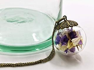 Grande collana donna in bicchiere - Fiori di Lavanda di mare - Globo 25mm - Idea regalo di San Valentino - regali per lei ...
