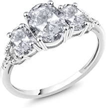 Gem Stone King 10K White Gold White Topaz and Diamond Accent 3-Stone Women's Engagement Ring 2.35 Cttw Oval (Available 5,6,7,8,9)