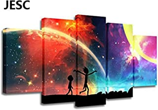 JESC 5 Panels Canvas Rainbow Painting Poster Wall Art Canvas Art Modern Home Decor Picture for Living Room No Frame(30x50cmx2,30x70cmx2,30x80cmx1)