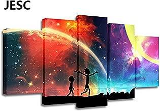 JESC 5 Panels Canvas Rainbow Painting Poster Wall Art Canvas Art Modern Home Decor Picture for Living Room No Frame(30x50cmx2,30x70cmx2,30x80cmx1)