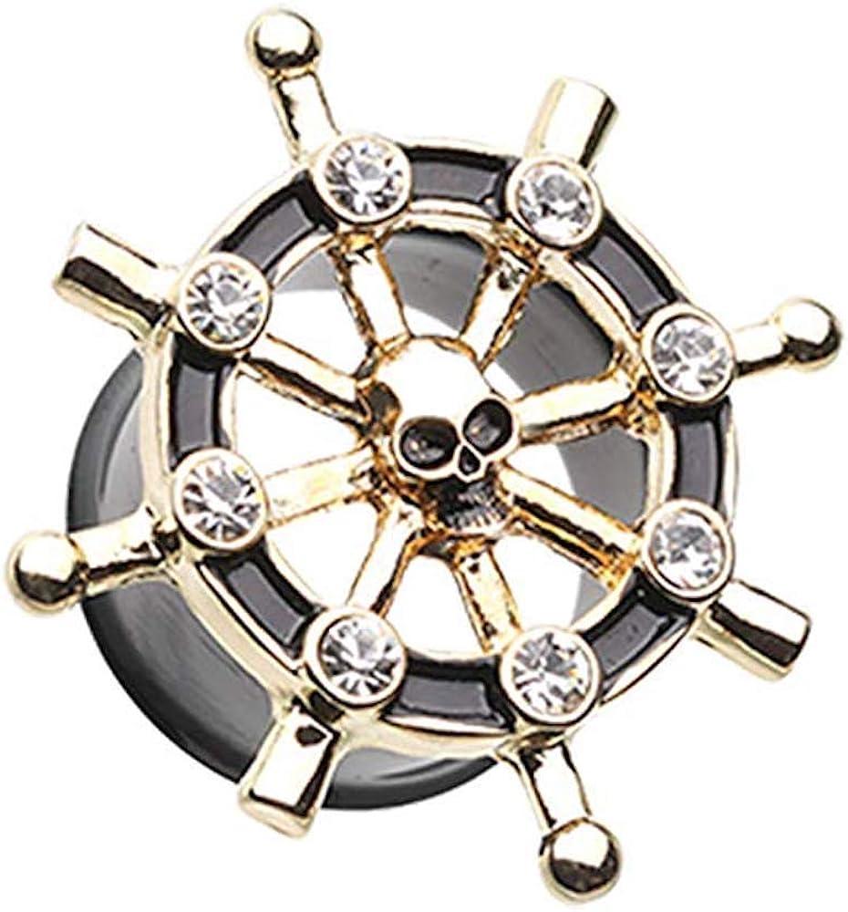 Outlet Super sale sale feature Covet Jewelry Golden Pirate Ship Ear Plug Anchor Wheel Gauge
