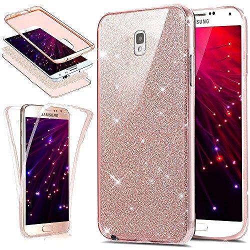 Herbests Coque pour Galaxy Note 4,Galaxy Note 4 Coque + Verre Trempé Film de Protection, Galaxy Note 4 Double Faces Case de Protection,Glitter Rose