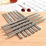 Zollyss 5 Pair 304 Stainless Steel Chopsticks Set Chinese Sliver Dinnerwaer Reusable Non-Slip