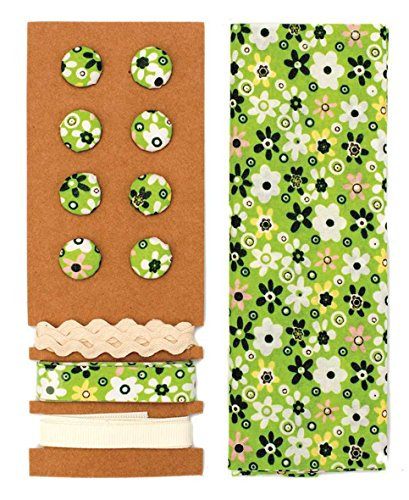 Lili Rose Kit textile vert fleurs 48 x 48 cm Bandes 3 x 1 m 8 boutons