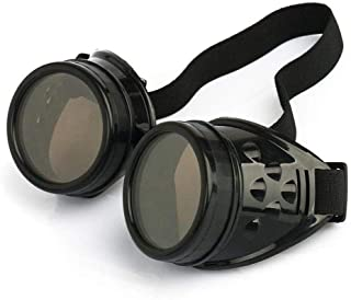 New Sell Vintage Steampunk Goggles Glasses Welding Cyber Punk Gothic (Black)