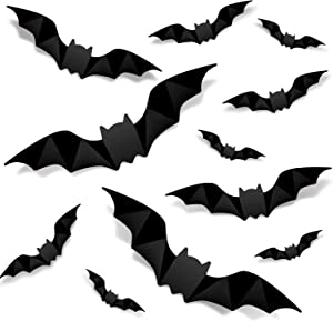 Halloween 3D Bats Decoration, 80 PCS 4 Sizes Realistic PVC Scary Bats Window Decal Wall Stickers for DIY Home Bathroom Indoor Hallowmas Decoration Party Supplies