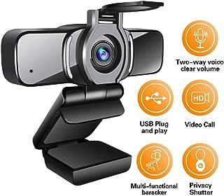 LarmTek - Cámara web HD 1080p con obturador de privacidad cámara web para ordenador portátil con micrófono videollamadas panorámicas y soporte de grabación para conferencias W3 Reino Unido