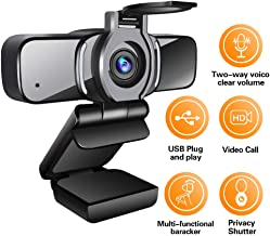 Computer Webcam 1080p with Webcam Cover,LarmTek PC Laptop Camera Built-in Microphone,Widescreen Video Calling and Recording Support for Conference, W3,US