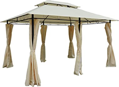Outsunny 10' x 13' Outdoor Soft Top Pergola Gazebo with Curtains, 2-Tier Steel Frame Gazebo for Patio, Cream White