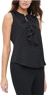 TOMMY HILFIGER Womens Black Ruffled Sleeveless V Neck Tunic Wear To Work Top AU Size:10