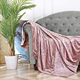 BOURINA Throw Blanket Shiny Decorative Ice Crushed Velvet Throw for Sofa Bed Polyester,60'x80' Pink