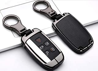 YUWATON Fit for Freelander Discovery Key Case Range Rover Evoque Key Cover XE XF XJ F-PACE Key Cover Leather Key Case Metal Key Chain Alloy Key Fob (Black, B)