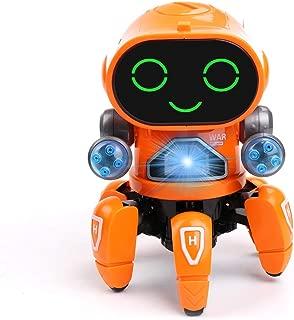 Micnaron Electric Dancing Robot Walking Musical Baby Toys with Colorful Flashing Light Singing for Children Kids Boys&Girls (Orange)