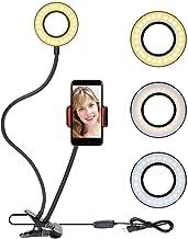 Selfie Ring Light Cellphone Holder - Rovtop Ring Light Stand Live Stream Makeup, 48 LED Bulbs 3 Light Modes 10-Level Brightness 360 Rotating for iPhone Android Cell Phone, Black