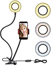 Selfie Ring Light Cellphone Holder - Rovtop Ring Light Stand Live Stream Makeup, 48 LED Bulbs 3 Light Modes 10-Level Brightness 360 Rotating for iPhone Android Cell Phone, Black