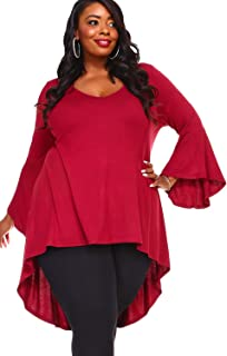 WearOrGoBare Womens Maroon Asymmetrical Bell Sleeves Plus Size Tunic Top
