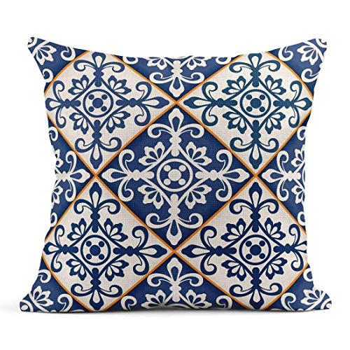 Kinhevao Cojín Arabesque Precioso patrón de Mosaico de Azulejos marroquíes Azul Oscuro y Blanco Adornos Rellenos Cojín de Lino Azulejo Almohada Decorativa para el hogar