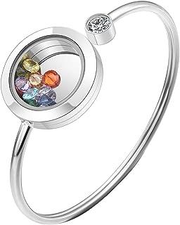 Free Engraving Custom Stainless Steel Memory Floating Charm Glass Round Shaped Locket Bangle Bracelet with 12Pcs Zircon Birthstones