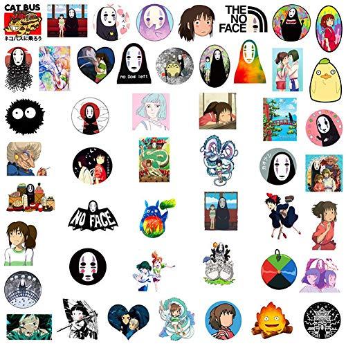 SGOT Jojos Aufkleber, One Piece Stickers, Wasserdicht Vinyl Demon Slayer Stickers, Anime Decals für Auto Motorräder Gepäck Skateboard Laptop Aufkleber(50 Stück Spirited Away)