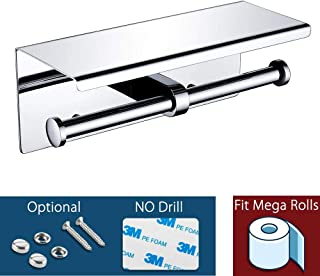 Waydeli Double Toilet Paper Holder – Double Toilet Paper Roll Holder with Shelf, Adhesive No Drilling or Wall Mounted, Stainless Steel Polished Chrome