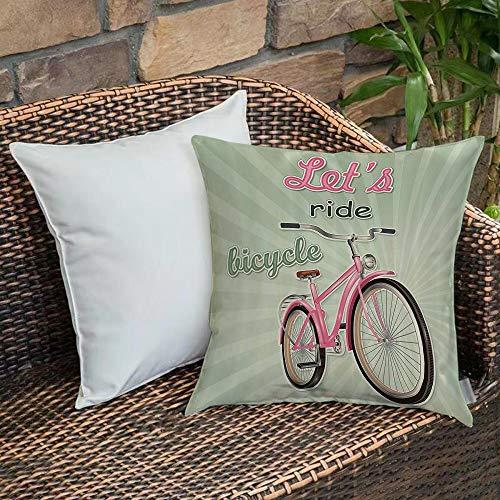 Funda de Cojín,Funda de Almohada Cuadrada para Asiento,Juego de bicicletas, bicicleta de estilo urbano con estilo pop art reFundas de Almohada para Sofá Decorativas Dormitorio Coche Pulgada 45 x 45 cm