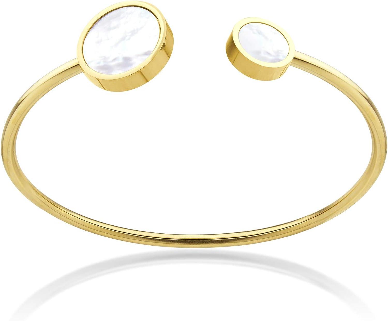 555Jewelry Stainless Steel & Shell Open Cuff Bangle Bracelet for Women & Girls