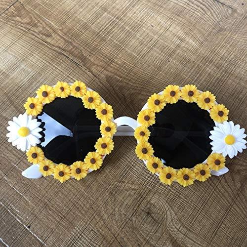 Gafas de sol de mujer margarita blanca con amarillo girasol decorativo frontera gafas de sol retro joven lindo viento C1