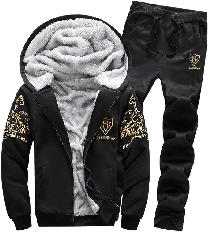 HowmeMen Velvet Thick Hooded Casual Sweatsuit Tops Jackets Sweatpants Sets