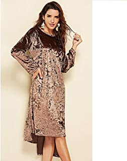 Man&Y 長袖不規則なソリッドカラーのラウンドネックフリースレジャースカート印刷緩い女性のドレス (Color : Brown, Size : XL)
