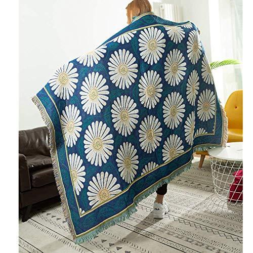 MYBH - Manta de sofá para el hogar, manta de ocio, manta de decoración, chal de campo, manta de sofá, manta azul, 90 x 210 cm