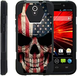 TurtleArmor   Compatible with ZTE Grand X 3 Case   ZMax Champ Case   Warp 7 [Dynamic Shell] Hybrid Dual Layer Hard Shell Kickstand Silicone Case - US Flag Skull