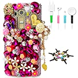 STENES Bling Phone Case Compatible with LG Stylo 6 - Stylish - 3D Handmade Sparkle Series Heart Pendant Dance Butterfly Flowers Design Cover with Cable Protector [4 Pack] - Pink