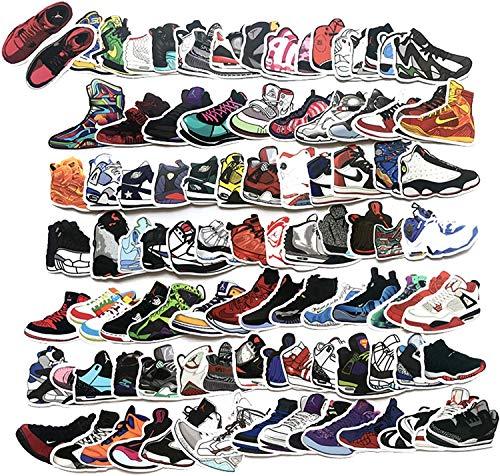 HAMISS 100 Stück Sneakers Basketball Schuhe Sport Aufkleber PVC Wasserdicht Graffiti Aufkleber für Scrapbooking Kühlschrank Koffer Laptop Auto Helm Skateboard Gepäck Graffiti Aufkleber